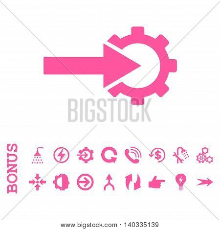 Cog Integration vector icon. Image style is a flat pictogram symbol, pink color, white background.