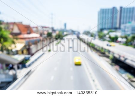 Blur Background : Top View Car On High Way Road City Building,abstract Background
