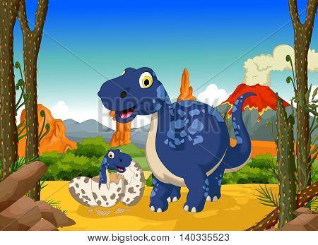 funny cute dinosaur cartoon with her baby in the jungle