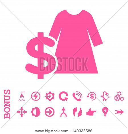 Dress Price vector icon. Image style is a flat iconic symbol, pink color, white background.