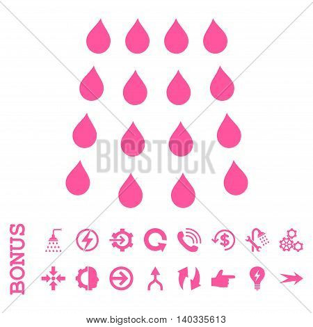 Drops vector icon. Image style is a flat pictogram symbol, pink color, white background.