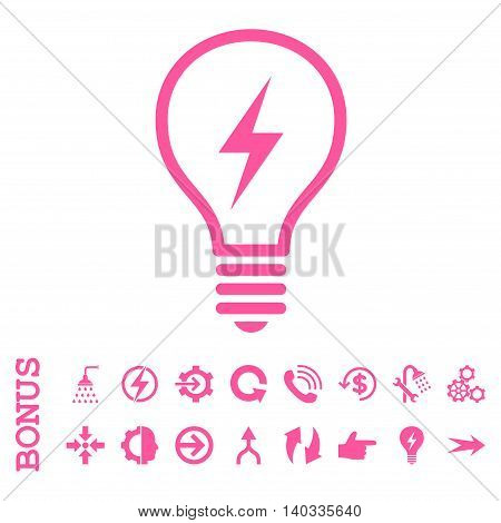 Electric Bulb vector icon. Image style is a flat pictogram symbol, pink color, white background.
