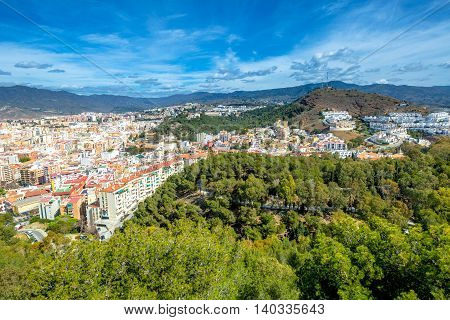 Panoramic view of Malaga city from El castillo de Gibralfaro or Alcazar, a Spanish fortress in Andalusia.