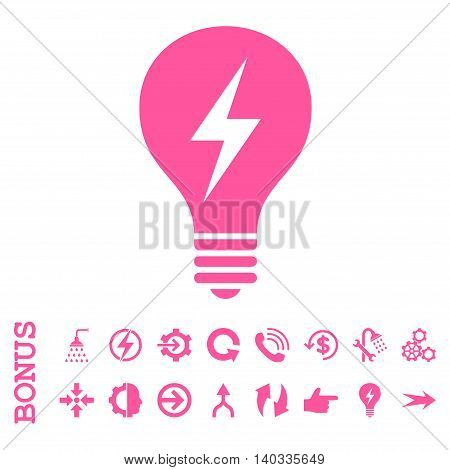 Electric Bulb vector icon. Image style is a flat iconic symbol, pink color, white background.