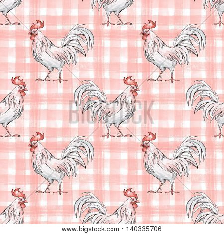 Seamless pattern with rooster. Checkered background. Ink and watercolor