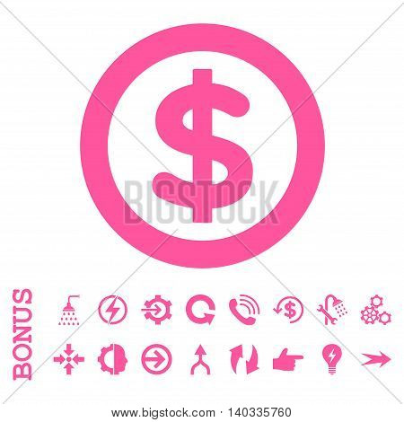 Finance vector icon. Image style is a flat iconic symbol, pink color, white background.