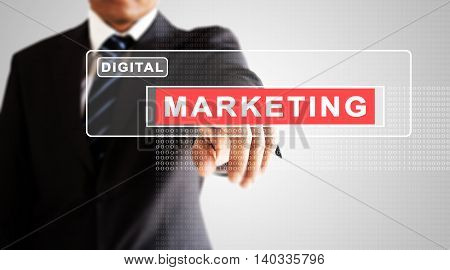 Businessman hand pressing on digital marketing screen