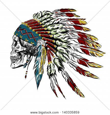 Hand Drawn Native American Indian Feather Headdress With Human Skull. Vector Illustration EPS
