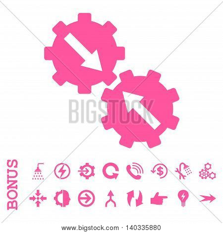 Gear Integration vector icon. Image style is a flat iconic symbol, pink color, white background.