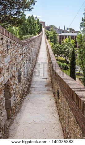 View along the ancient city wall of Girona Spain