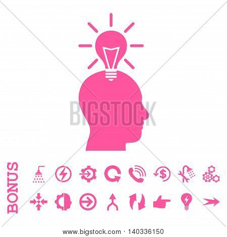 Genius Bulb vector icon. Image style is a flat iconic symbol, pink color, white background.