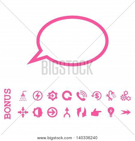 Hint Cloud vector icon. Image style is a flat pictogram symbol, pink color, white background.