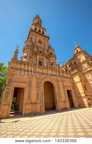 Detail of the northern tower of the Plaza de Espana o Spain Square in Seville, Andalusia, Spain.