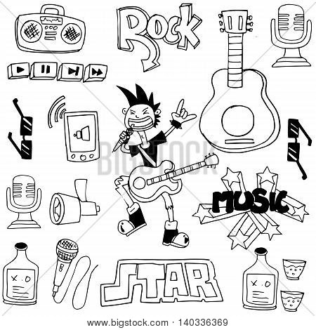 Doodle of music with hand draw vector illustration