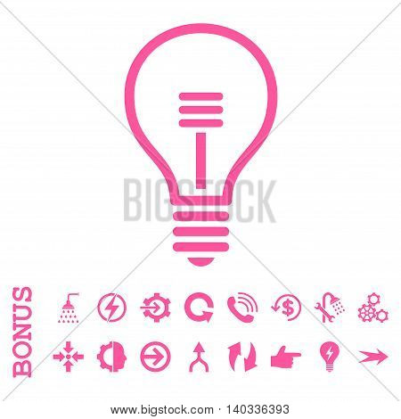 Lamp Bulb vector icon. Image style is a flat pictogram symbol, pink color, white background.