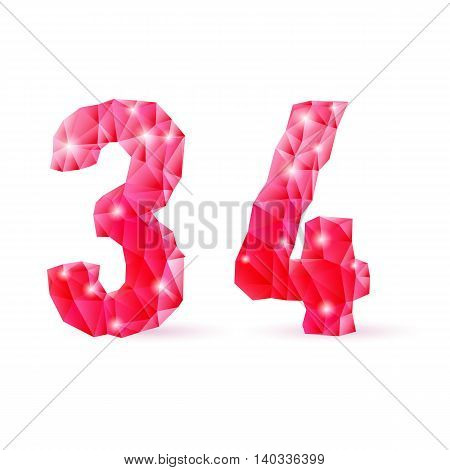 Shiny ruby polygonal font on white background. Crystal style 3 and 4 numerals