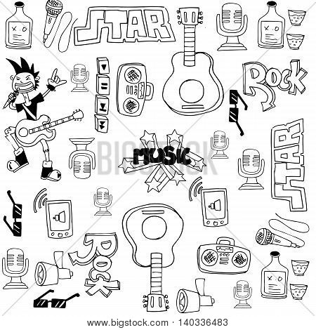 Doodle of music symbols with hand draw