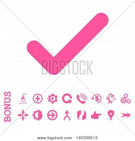 Ok vector icon. Image style is a flat pictogram symbol, pink color, white background.