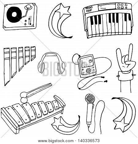 Doodle set of music element vector art