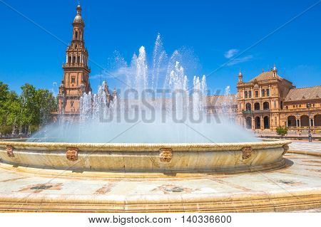 Close up of fountain in Plaza de Espana, Seville, Andalusia, Spain.