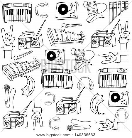 Doodle of music tools with hand draw