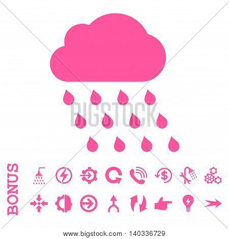Rain Cloud vector icon. Image style is a flat iconic symbol, pink color, white background.
