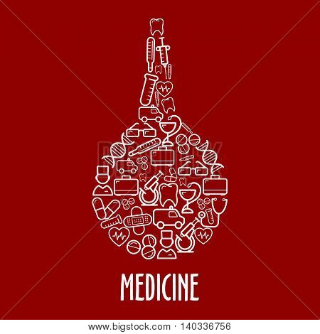 Medicine and hospital icons in a shape of enema with ambulances and doctors, first aid kits and thermometers, stethoscopes and syringes, pills and hearts, microscopes and test tubes, teeth and DNA, glasses and plasters symbols