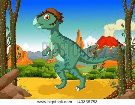 funny Dinosaur Stegoceras cartoon with forest landscape background