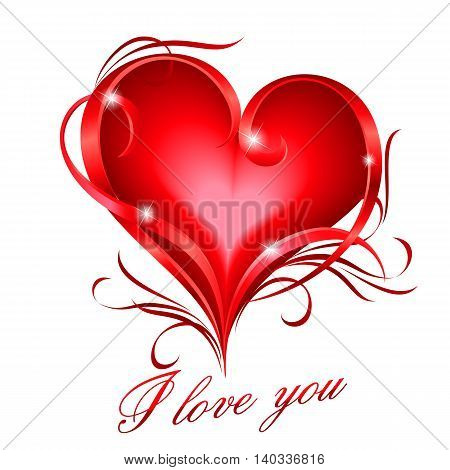Glowing red heart with floral decoration and I love you text