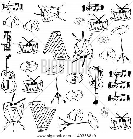 Doodle of music set with hand draw illustration