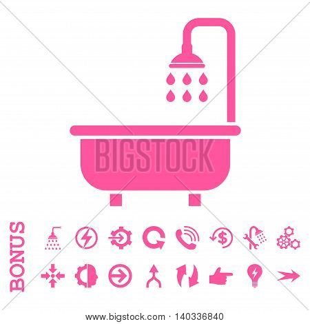 Shower Bath vector icon. Image style is a flat pictogram symbol, pink color, white background.