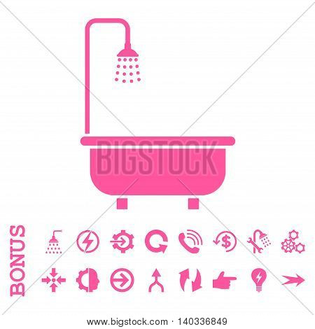 Shower Bath vector icon. Image style is a flat iconic symbol, pink color, white background.