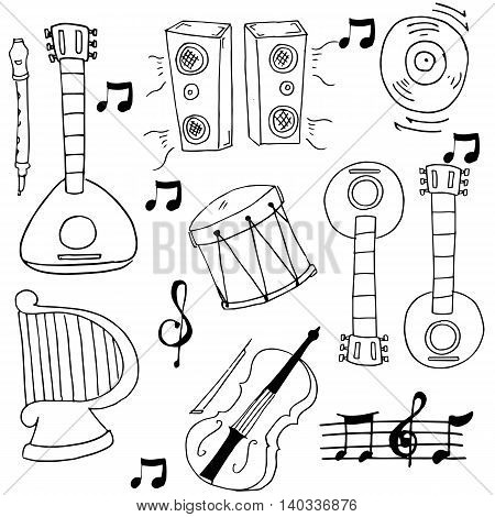 Doodle of hand draw music set vector art