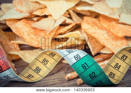 Vintage Photo, Centimeter With Salted Crisps And Cookies, Concept Of Unhealthy Food And Slimming