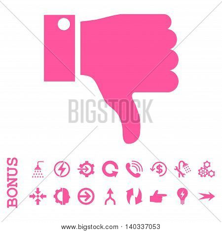 Thumb Down vector icon. Image style is a flat pictogram symbol, pink color, white background.
