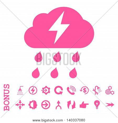 Thunderstorm vector icon. Image style is a flat iconic symbol, pink color, white background.