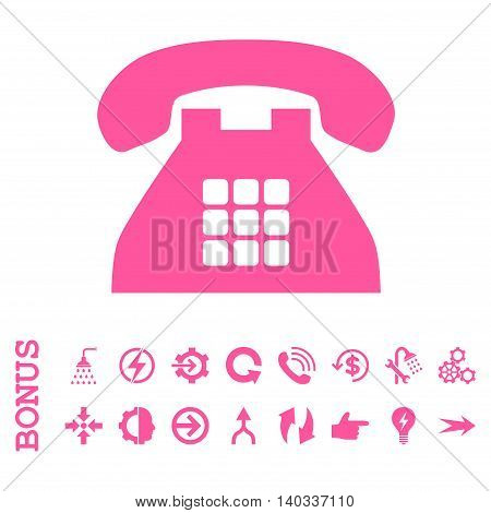 Tone Phone vector icon. Image style is a flat pictogram symbol, pink color, white background.