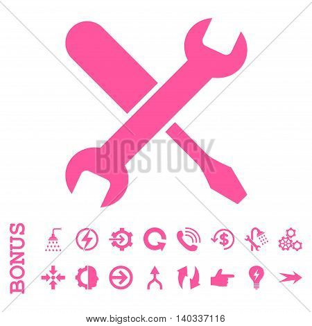 Tuning vector icon. Image style is a flat iconic symbol, pink color, white background.