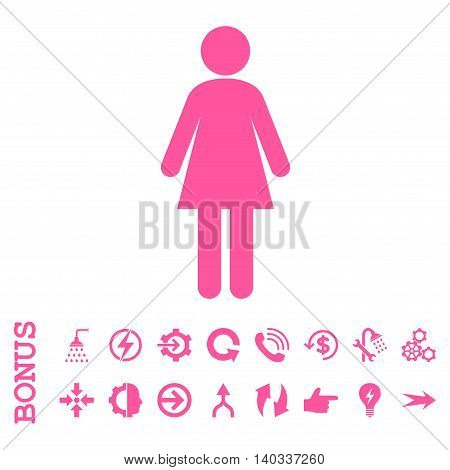 Woman vector icon. Image style is a flat iconic symbol, pink color, white background.