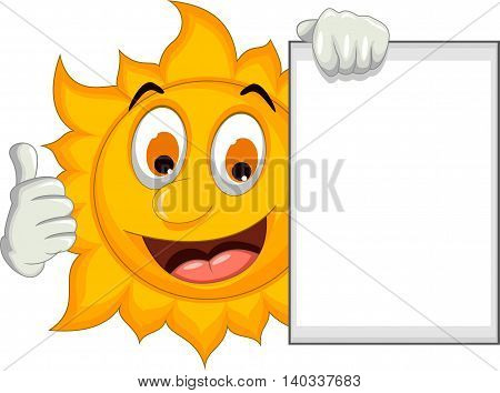 happy sun cartoon thumb up with blank sign