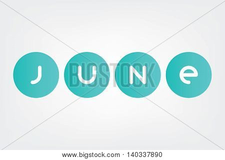 june, Names of months of the year in white background