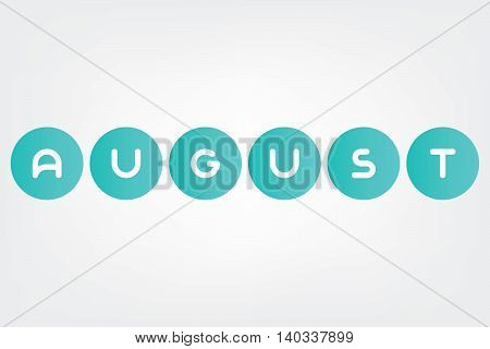 august, names of months of the year in white background