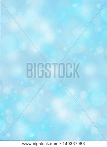 abstract background blue bokeh circles holiday card.