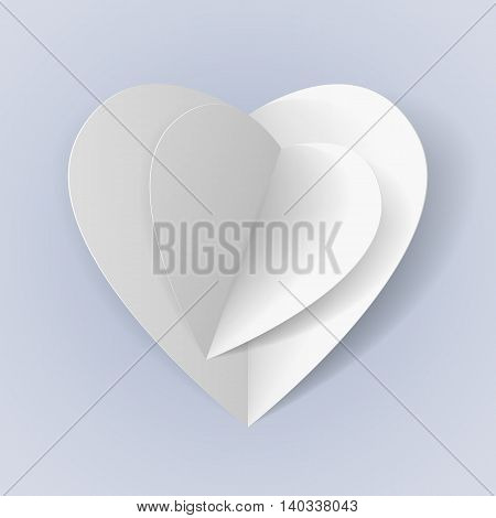 Two white paper hearts for your romantic design