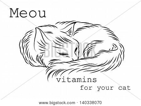 Image to use on packages boxes or bottles of vitamins for cats. It can be used as a banner or logo as well as in advertising or sales for your convenience