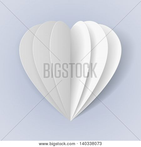 Folded white paper hearts for your design
