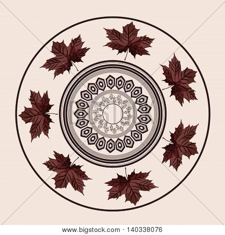 Ornament in vintage style. It can be applied to any use including kitchen utensils decorative plates dishes or painting walls