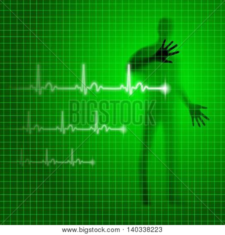 Neon green medical vector background with human silhouette and cardiogram line