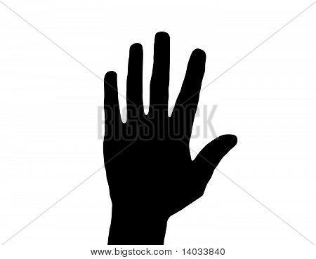 Silhouette Vector Raised Hand on White
