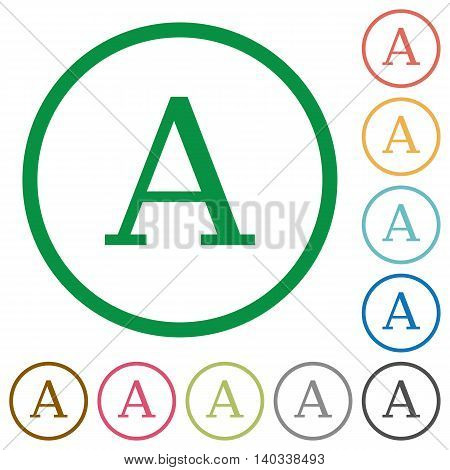 Set of font color round outlined flat icons on white background